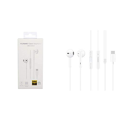 Huawei Auriculares Originales Type-C Tipo C Mate Honor 9 Plus CM33 estéreo Micrófono Headset, Blanco + CM33, Auriculares intraulares In-Ear USB Tipo C Hi-Res, Blanco